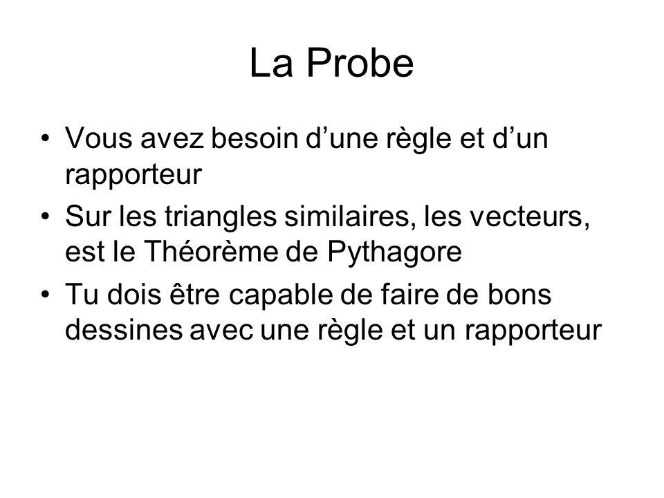 La Probe Vous avez besoin dune règle et dun rapporteur Sur les triangles similaires, les vecteurs, est le Théorème de Pythagore Tu dois être capable de faire de bons dessines avec une règle et un rapporteur