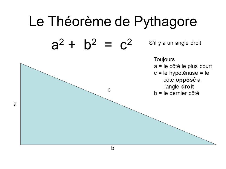 Le Théorème de Pythagore a 2 + b 2 = c 2 a b c Toujours a = le côté le plus court c = le hypoténuse = le côté opposé à langle droit b = le dernier côté Sil y a un angle droit