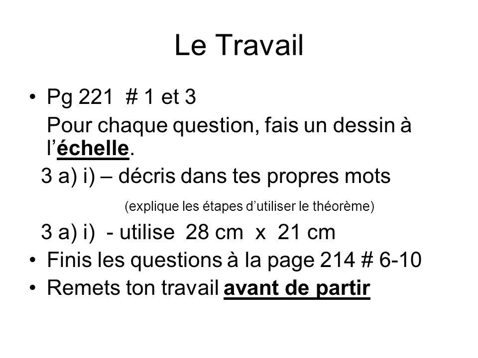Le Travail Pg 221 # 1 et 3 Pour chaque question, fais un dessin à léchelle.
