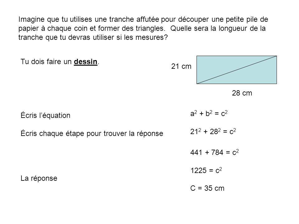 4 m 8m 3m Quel est le longueur de x x Pour réussir toutes les marques tu dois: Fait le dessin Prouvez les triangles sont similaire Montre comment de trouvez les multiple entre les deux triangles Calculez le response A B C Angle A = Angle A par ce que le meme Angle C = Angle AED parce ce que les deux sont angle droit Angle B = Angle ADE parce que le somme de les angle d`une triangle Alors c`est similaire 8m / 4 m = 2 X = 2 x 3m = 6m D E