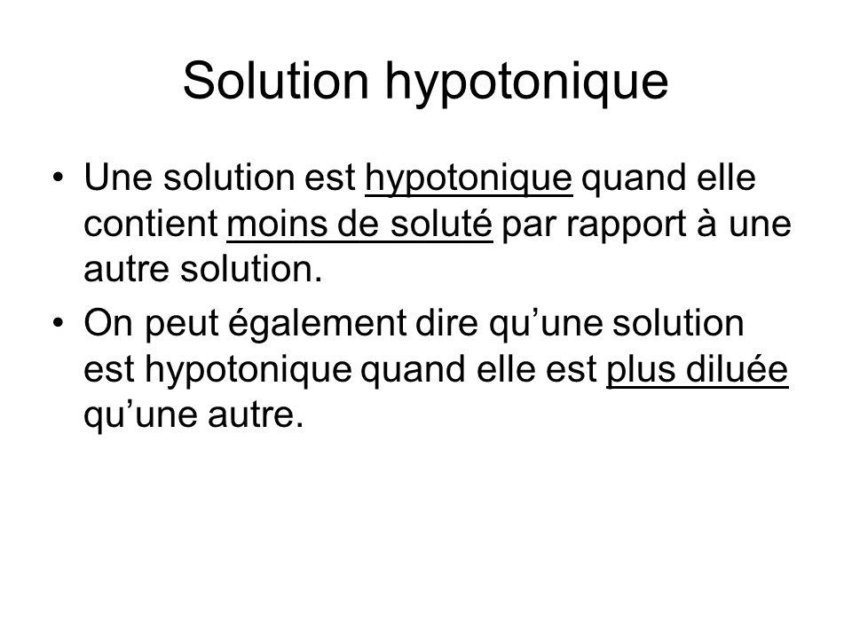 Solution hypotonique Une solution est hypotonique quand elle contient moins de soluté par rapport à une autre solution. On peut également dire quune s