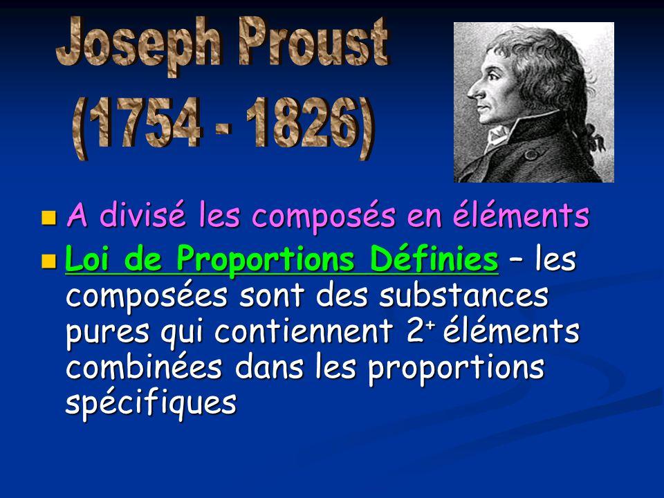 A divisé les composés en éléments A divisé les composés en éléments Loi de Proportions Définies – les composées sont des substances pures qui contienn
