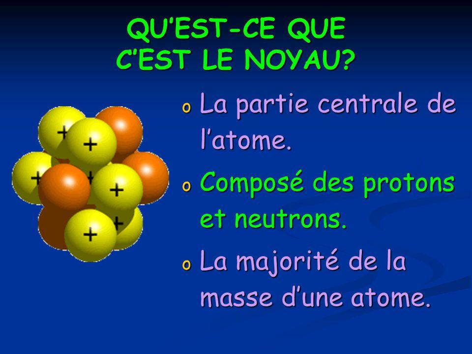 QUEST-CE QUE CEST LE NOYAU? o La partie centrale de latome. o Composé des protons et neutrons. o La majorité de la masse dune atome.