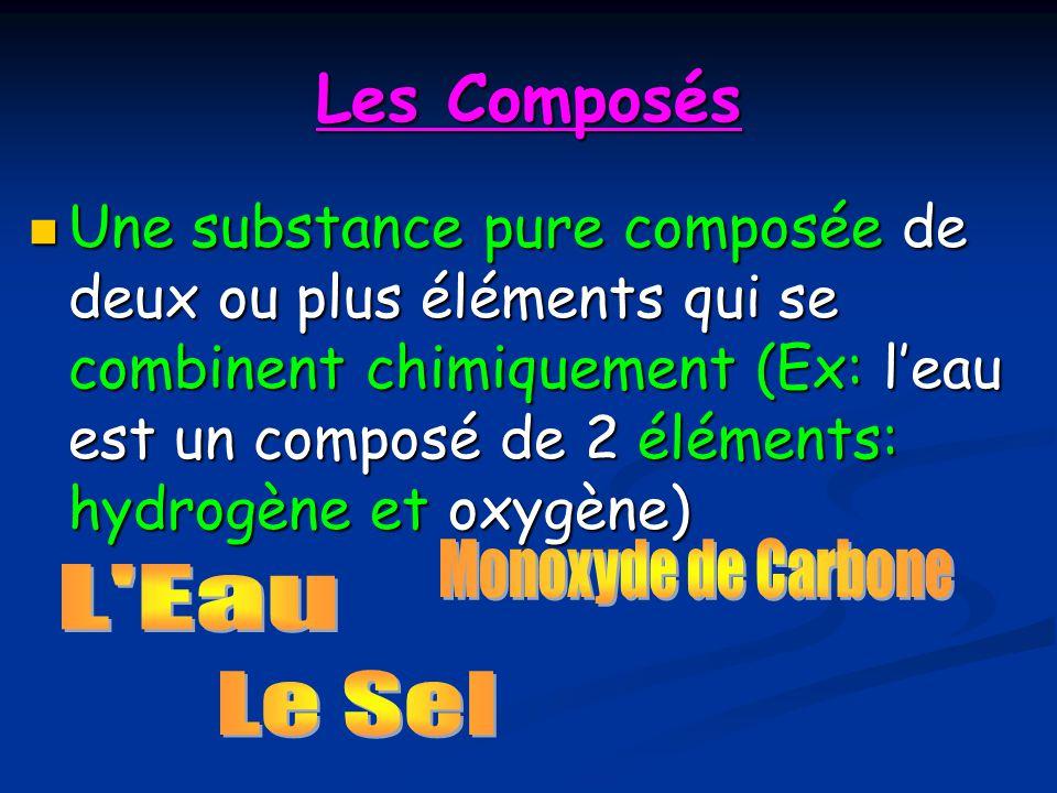 Les Composés Une substance pure composée de deux ou plus éléments qui se combinent chimiquement (Ex: leau est un composé de 2 éléments: hydrogène et o