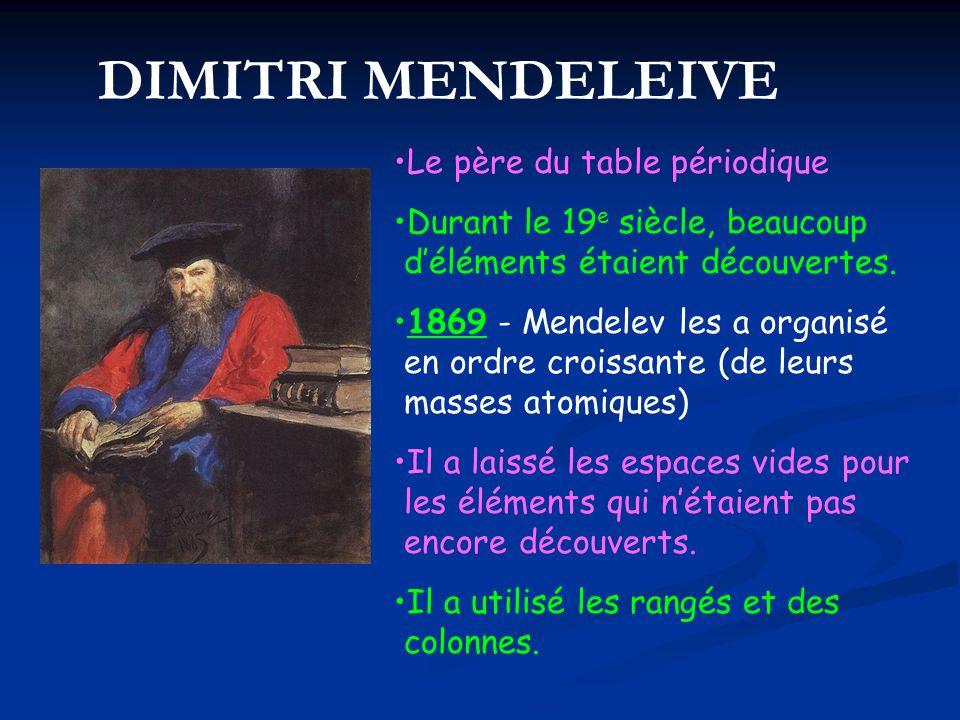 Le père du table périodique Durant le 19 e siècle, beaucoup déléments étaient découvertes. 1869 - Mendelev les a organisé en ordre croissante (de leur
