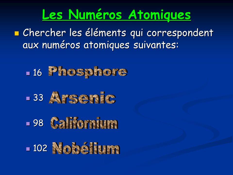 Les Numéros Atomiques Chercher les éléments qui correspondent aux numéros atomiques suivantes: Chercher les éléments qui correspondent aux numéros ato