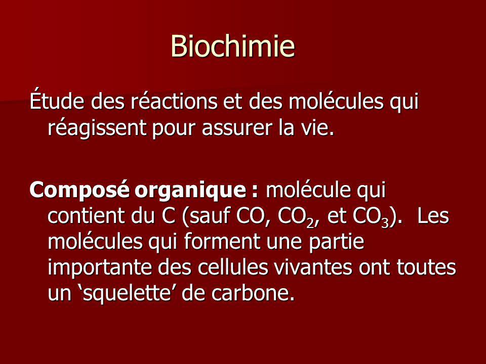 Biochimie Étude des réactions et des molécules qui réagissent pour assurer la vie. Composé organique : molécule qui contient du C (sauf CO, CO 2, et C
