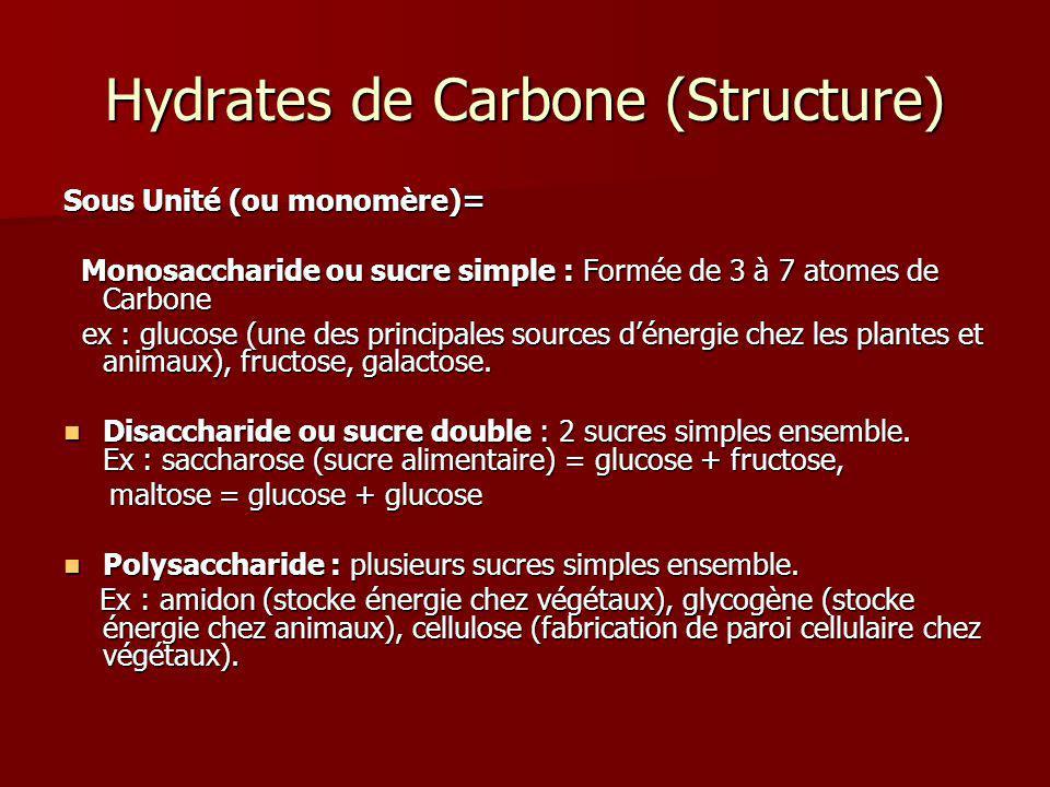 Hydrates de Carbone (Structure) Sous Unité (ou monomère)= Monosaccharide ou sucre simple : Formée de 3 à 7 atomes de Carbone Monosaccharide ou sucre s