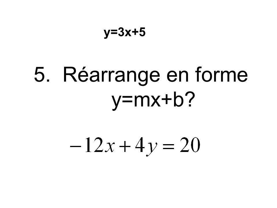 5. Réarrange en forme y=mx+b? y=3x+5