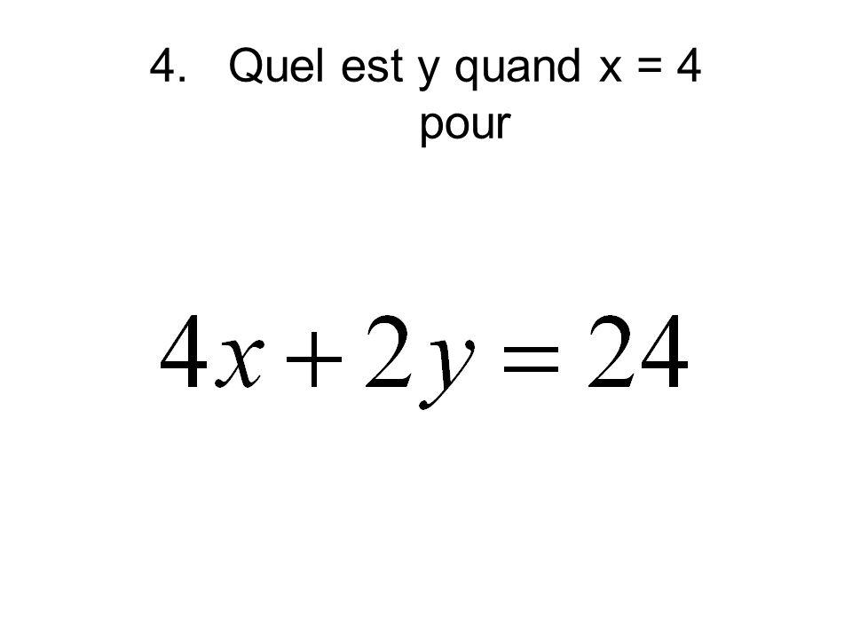 4.Quel est y quand x = 4 pour