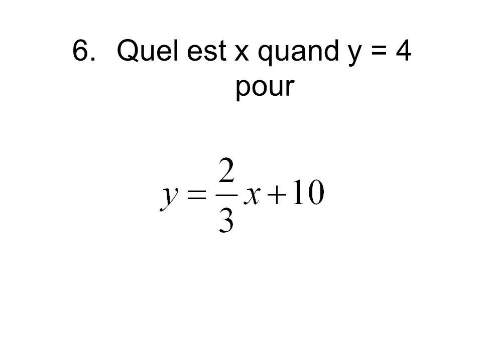 6.Quel est x quand y = 4 pour