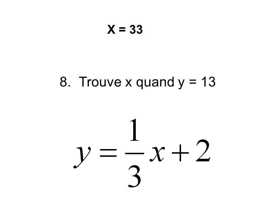 7. Factorise et trouve les interceptes x (x-7)(x-1) Les points (7,0) et (1,0)