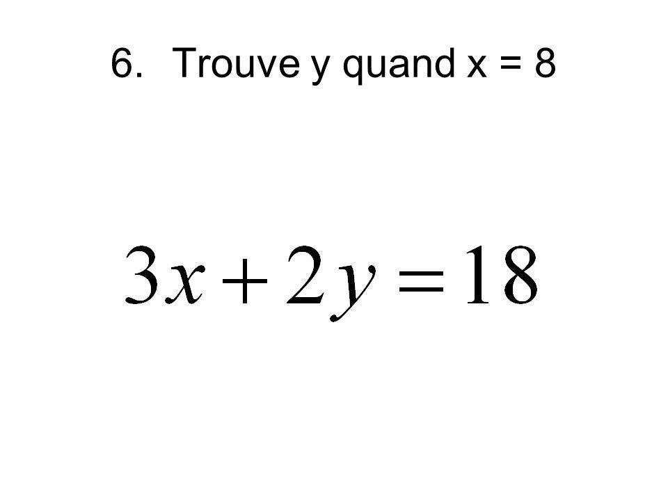 6.Trouve y quand x = 8