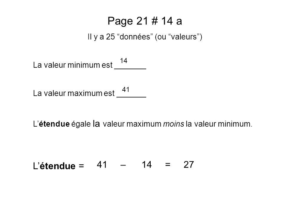 Page 21 # 14 a Il y a 25 données (ou valeurs) La valeur minimum est La valeur maximum est Létendue égale la valeur maximum moins la valeur minimum. Lé