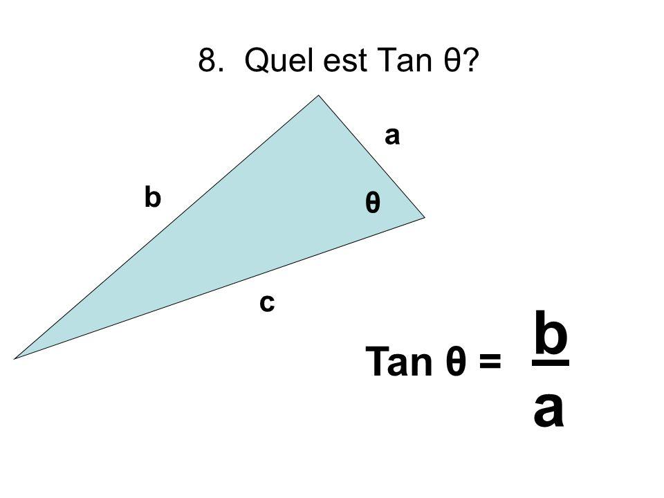 8. Quel est Tan θ? b a c θ baba Tan θ =
