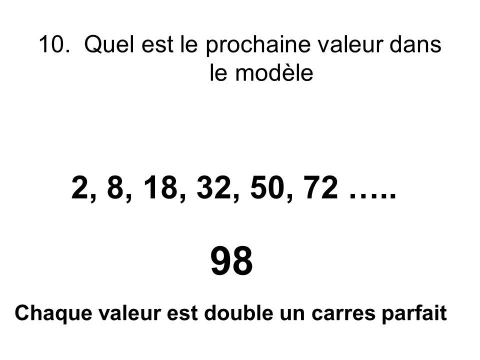 10. Quel est le prochaine valeur dans le modèle 2, 8, 18, 32, 50, 72 ….. 98 Chaque valeur est double un carres parfait