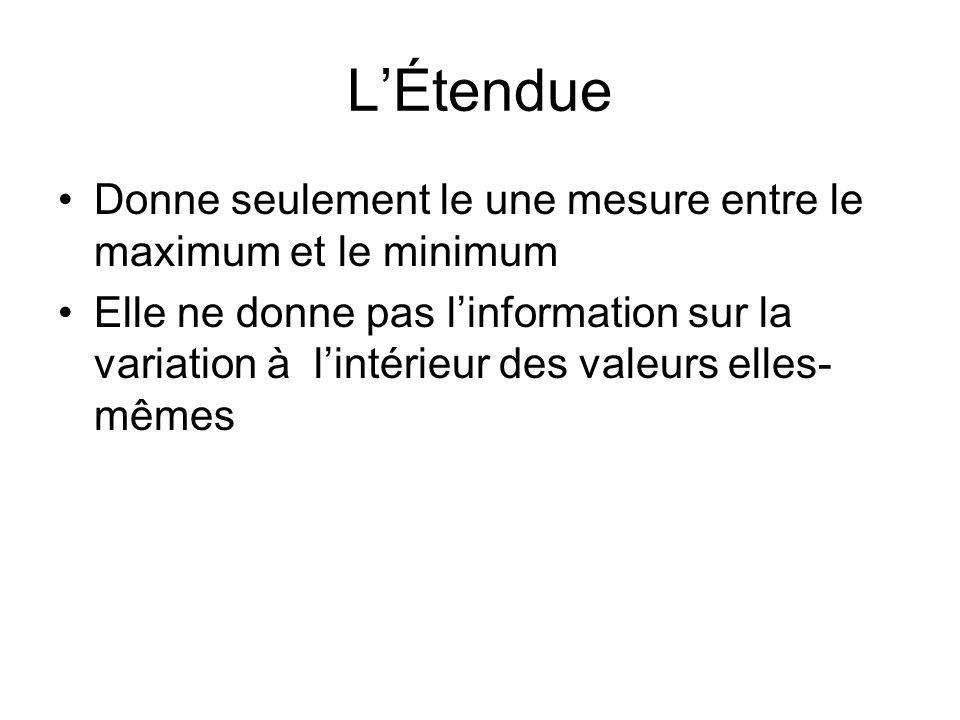 LÉtendue Donne seulement le une mesure entre le maximum et le minimum Elle ne donne pas linformation sur la variation à lintérieur des valeurs elles-