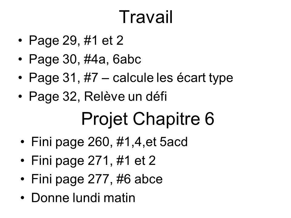 Travail Page 29, #1 et 2 Page 30, #4a, 6abc Page 31, #7 – calcule les écart type Page 32, Relève un défi Projet Chapitre 6 Fini page 260, #1,4,et 5acd