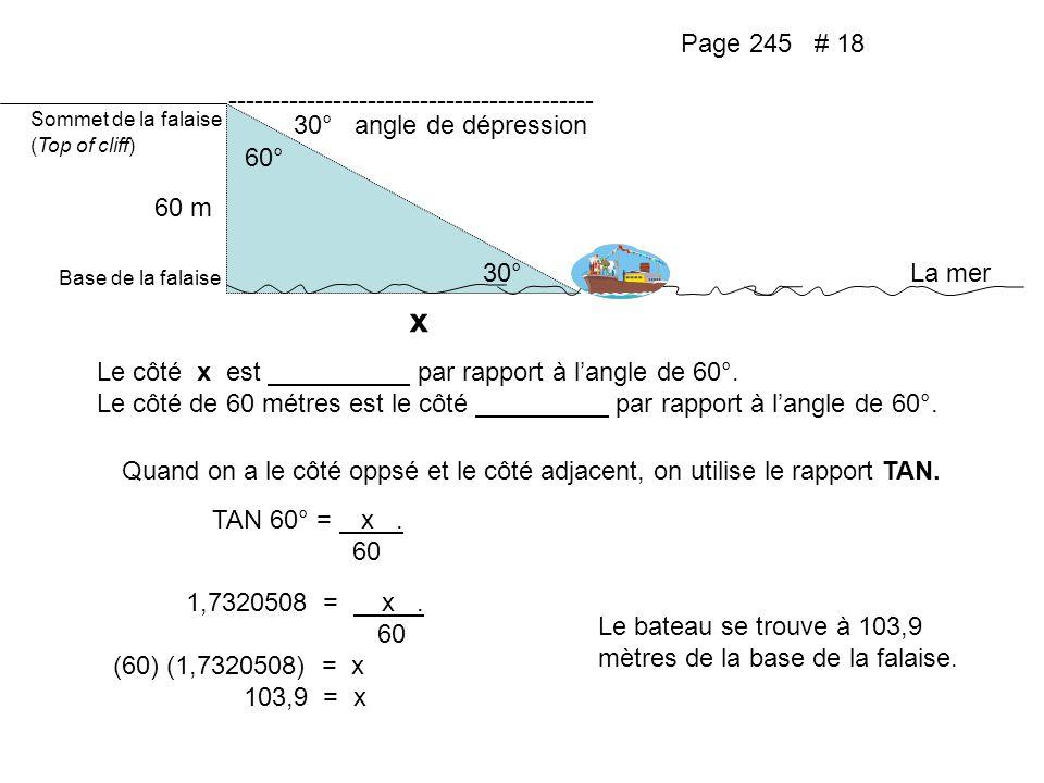 Page 245 # 18 Sommet de la falaise (Top of cliff) 30° ------------------------------------------ 30° angle de dépression 60° Base de la falaise La mer