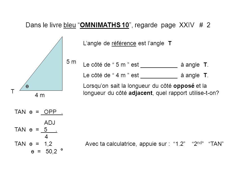 Dans le livre bleu OMNIMATHS 10, regarde page XXIV # 2 4 m 5 m T Langle de référence est langle T Le côté de 5 m est à angle T. Le côté de 4 m est à a