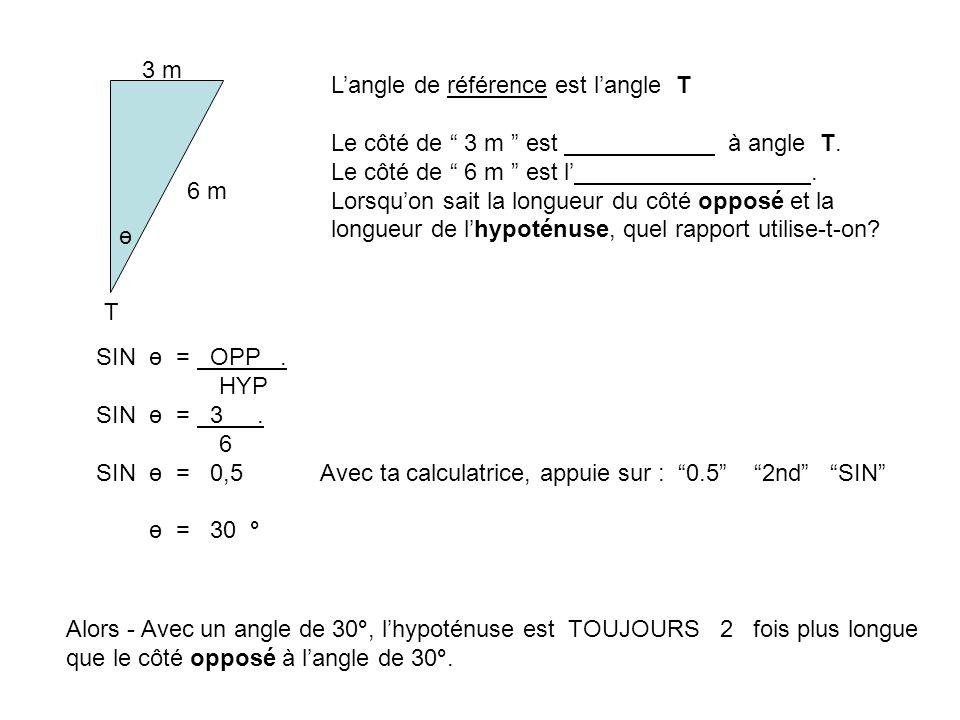 3 m T ө 6 m Langle de référence est langle T Le côté de 3 m est à angle T. Le côté de 6 m est l. Lorsquon sait la longueur du côté opposé et la longue