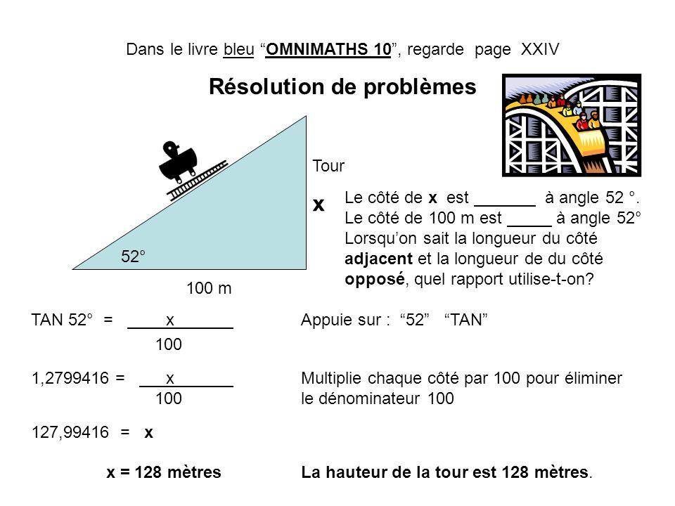 Dans le livre bleu OMNIMATHS 10, regarde page XXIV Résolution de problèmes Tour x 100 m 52° Le côté de x est à angle 52 °. Le côté de 100 m est à angl