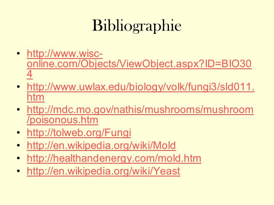 Bibliographie http://www.wisc- online.com/Objects/ViewObject.aspx?ID=BIO30 4http://www.wisc- online.com/Objects/ViewObject.aspx?ID=BIO30 4 http://www.uwlax.edu/biology/volk/fungi3/sld011.
