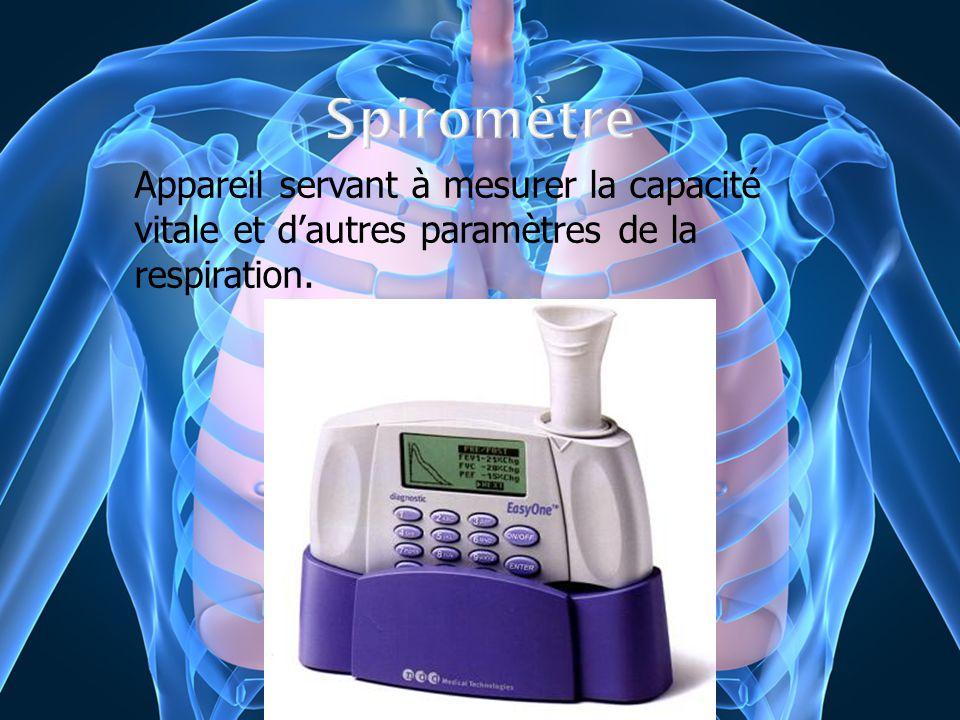 Appareil servant à mesurer la capacité vitale et dautres paramètres de la respiration.
