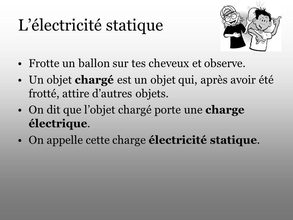 Lélectricité statique Frotte un ballon sur tes cheveux et observe. Un objet chargé est un objet qui, après avoir été frotté, attire dautres objets. On