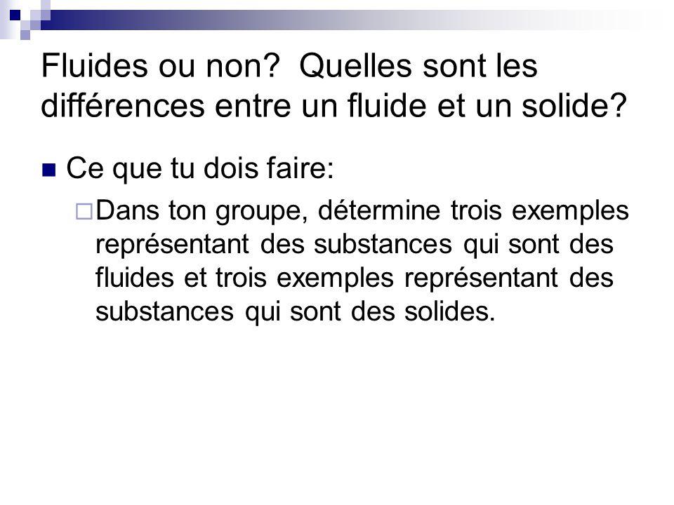Fluides ou non? Quelles sont les différences entre un fluide et un solide? Ce que tu dois faire: Dans ton groupe, détermine trois exemples représentan