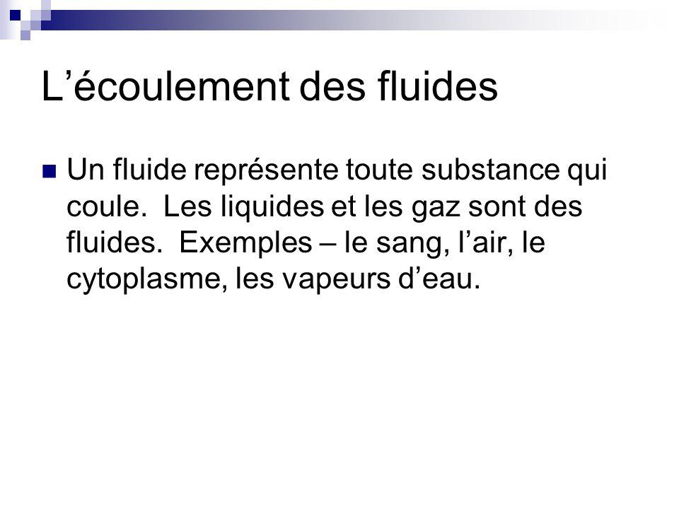 Lécoulement des fluides Un fluide représente toute substance qui coule. Les liquides et les gaz sont des fluides. Exemples – le sang, lair, le cytopla