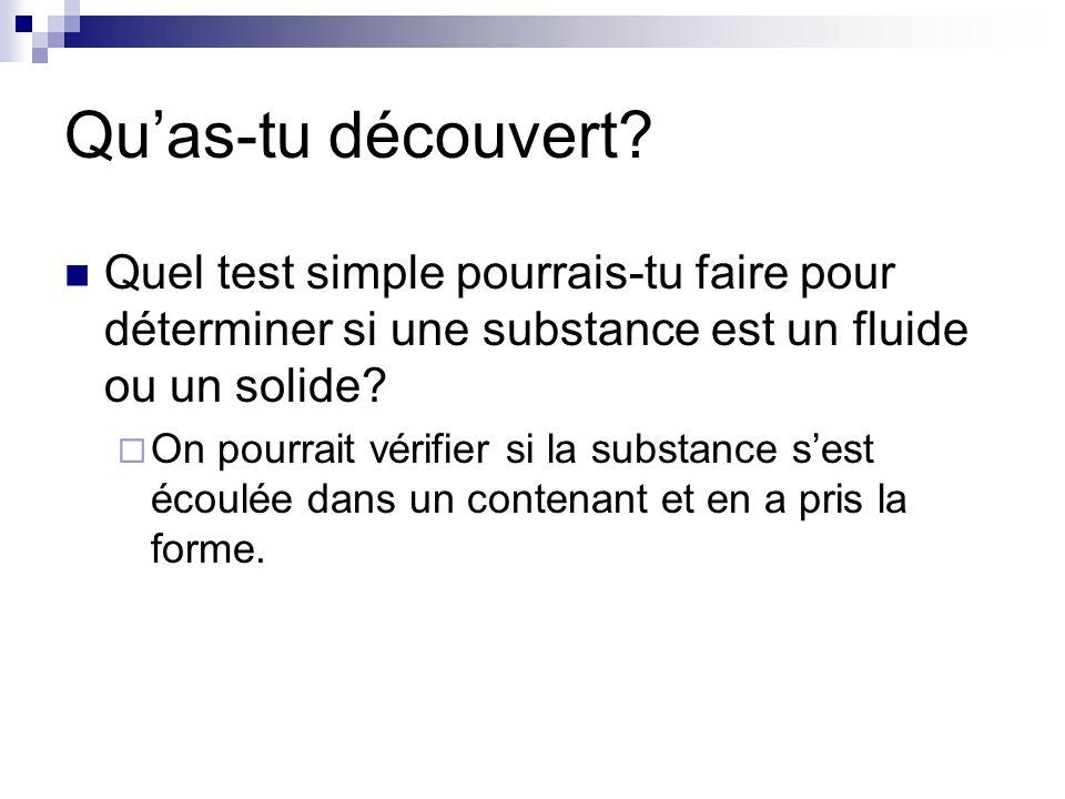 Quas-tu découvert? Quel test simple pourrais-tu faire pour déterminer si une substance est un fluide ou un solide? On pourrait vérifier si la substanc