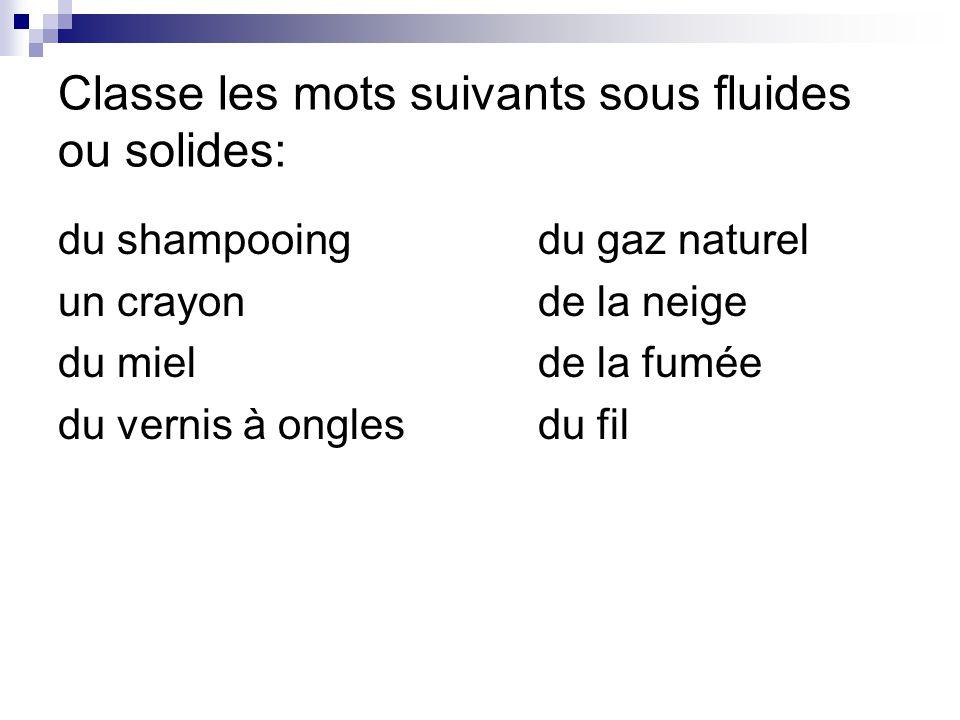 Classe les mots suivants sous fluides ou solides: du shampooingdu gaz naturel un crayonde la neige du mielde la fumée du vernis à onglesdu fil