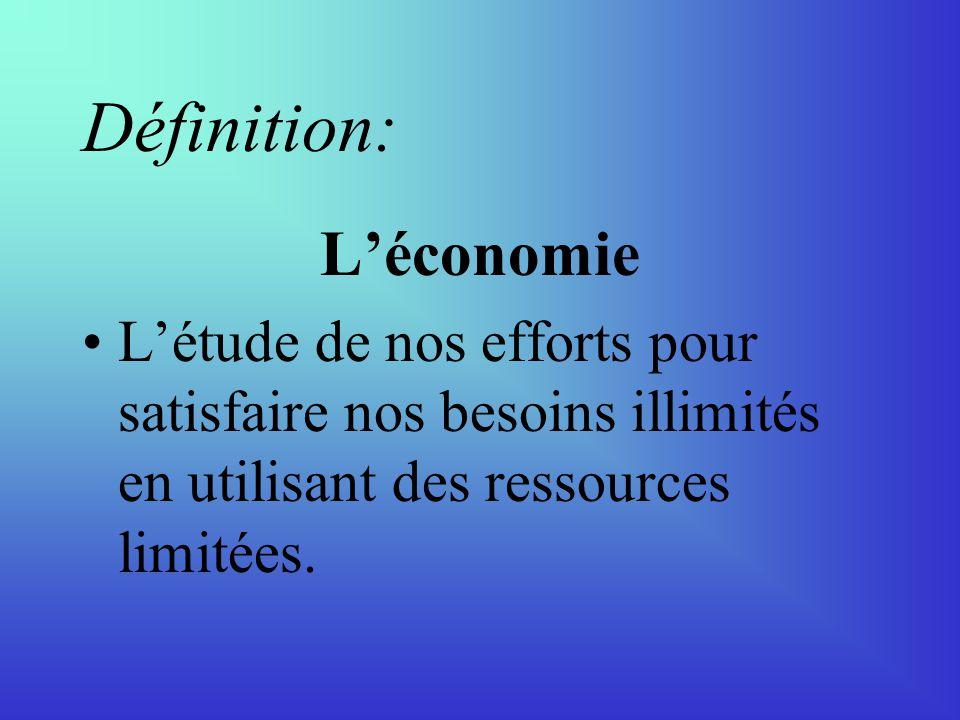 Définition: Léconomie Létude de nos efforts pour satisfaire nos besoins illimités en utilisant des ressources limitées.
