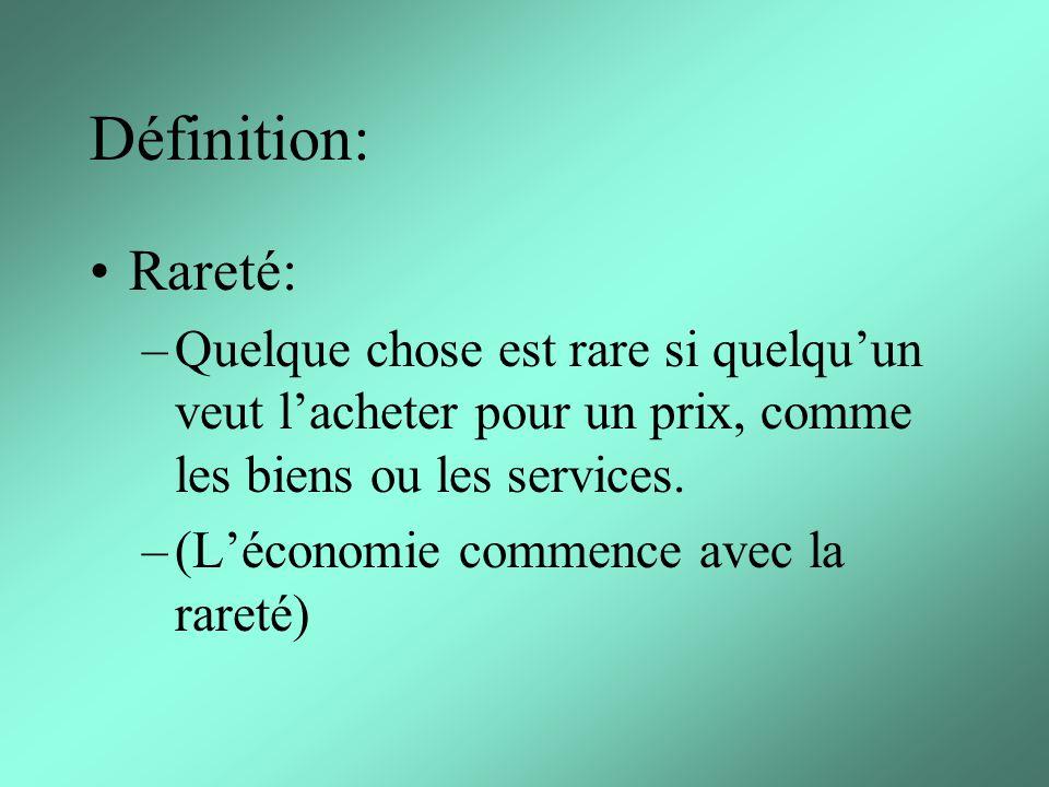 Définition: Rareté: –Quelque chose est rare si quelquun veut lacheter pour un prix, comme les biens ou les services.