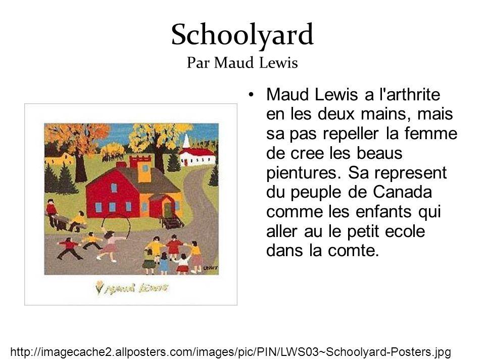 Schoolyard Par Maud Lewis Maud Lewis a l arthrite en les deux mains, mais sa pas repeller la femme de cree les beaus pientures.