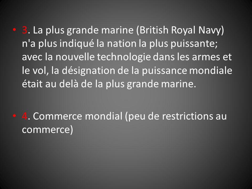 3. La plus grande marine (British Royal Navy) n'a plus indiqué la nation la plus puissante; avec la nouvelle technologie dans les armes et le vol, la