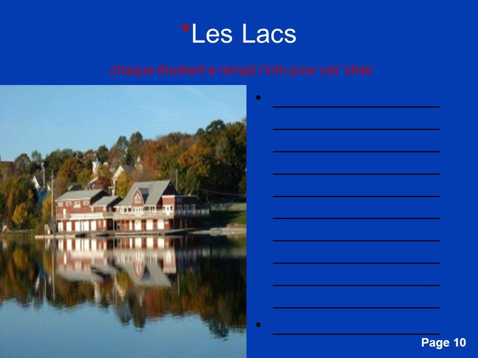 Free Powerpoint Templates Page 10 *Les Lacs chaque étudiant a rempli linfo pour cet slide ________________ ________________ ________________ _________