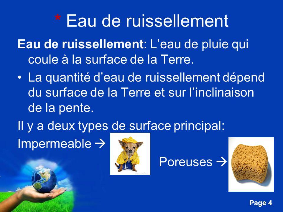 Free Powerpoint Templates Page 4 * Eau de ruissellement Eau de ruissellement: Leau de pluie qui coule à la surface de la Terre. La quantité deau de ru