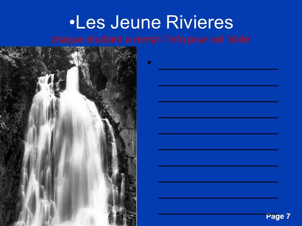 Free Powerpoint Templates Page 7 Les Jeune Rivieres chaque étudiant a rempli linfo pour cet slide ________________ ________________ ________________ _