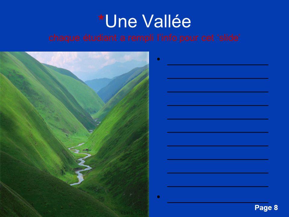 Free Powerpoint Templates Page 8 *Une Vallée chaque étudiant a rempli linfo pour cet slide ________________ ________________ ________________ ________