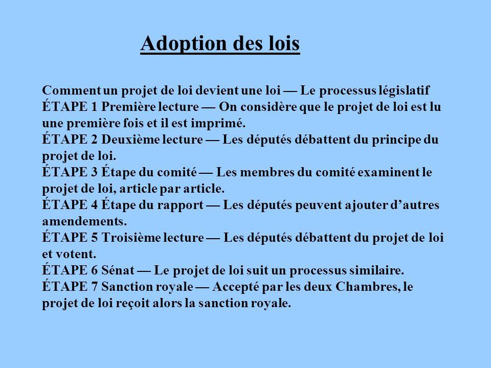 Adoption des lois Comment un projet de loi devient une loi Le processus législatif ÉTAPE 1 Première lecture On considère que le projet de loi est lu u