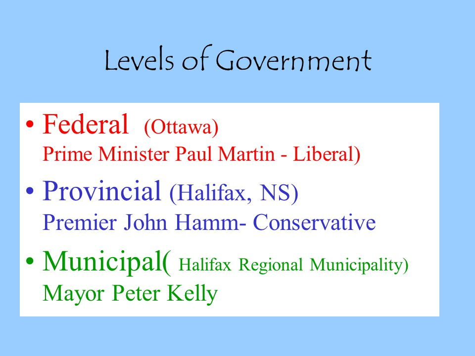 Levels of Government Federal (Ottawa) Prime Minister Paul Martin - Liberal) Provincial (Halifax, NS) Premier John Hamm- Conservative Municipal( Halifax Regional Municipality) Mayor Peter Kelly