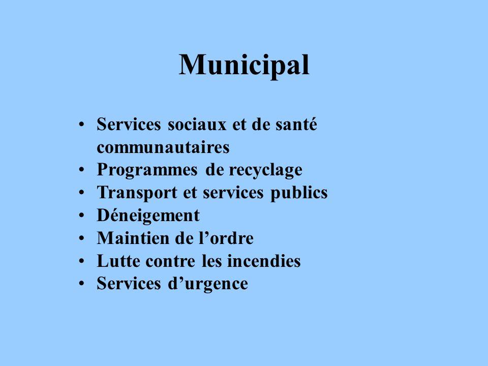 Municipal Services sociaux et de santé communautaires Programmes de recyclage Transport et services publics Déneigement Maintien de lordre Lutte contr