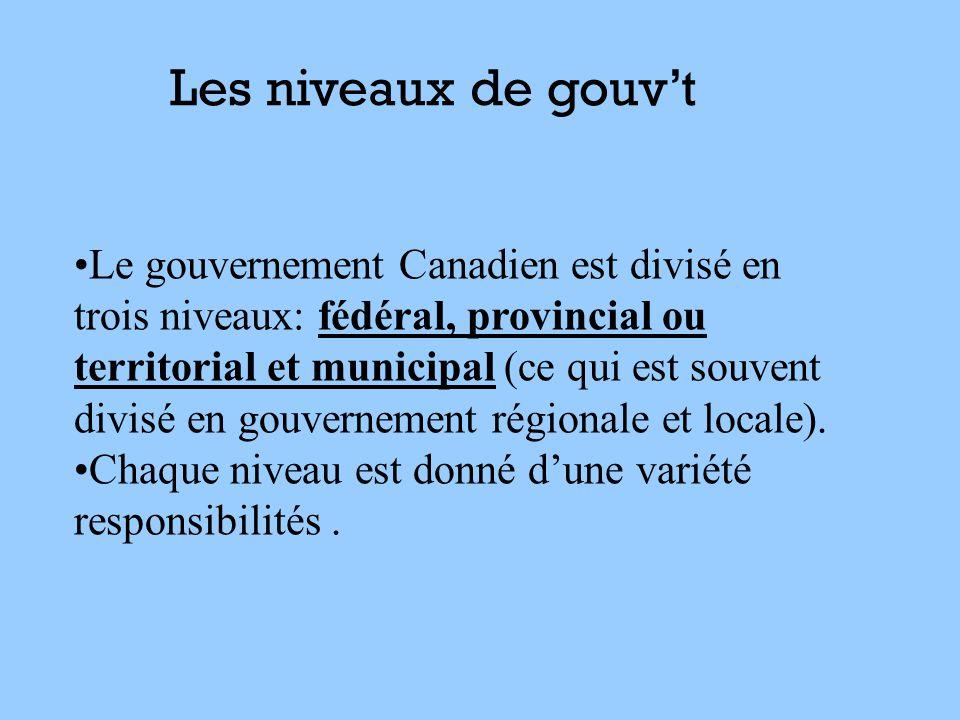 Le gouvernement Canadien est divisé en trois niveaux: fédéral, provincial ou territorial et municipal (ce qui est souvent divisé en gouvernement régio