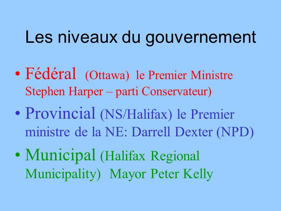 Les niveaux du gouvernement Fédéral (Ottawa) le Premier Ministre Stephen Harper – parti Conservateur) Provincial (NS/Halifax) le Premier ministre de l