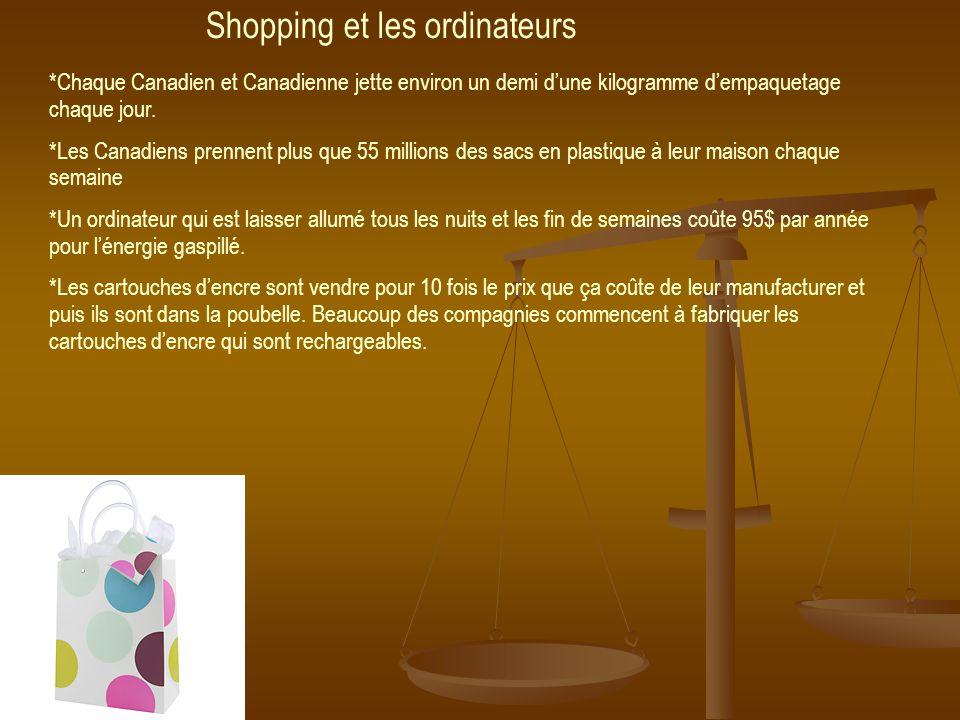 Shopping et les ordinateurs *Chaque Canadien et Canadienne jette environ un demi dune kilogramme dempaquetage chaque jour.