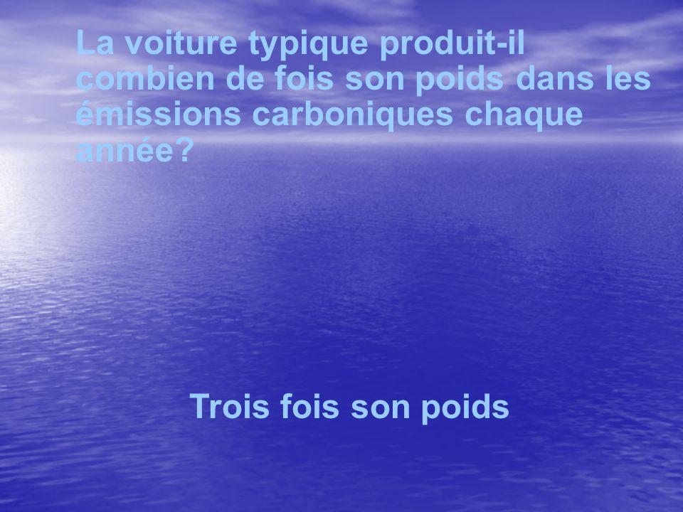 La voiture typique produit-il combien de fois son poids dans les émissions carboniques chaque année? Trois fois son poids