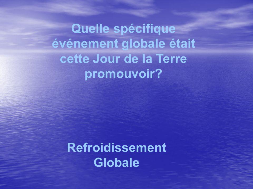 Quelle spécifique événement globale était cette Jour de la Terre promouvoir? Refroidissement Globale