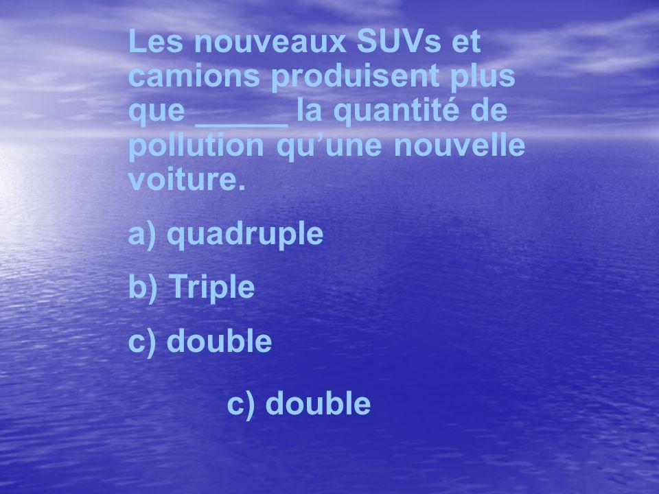 Les nouveaux SUVs et camions produisent plus que _____ la quantité de pollution quune nouvelle voiture. a) quadruple b) Triple c) double